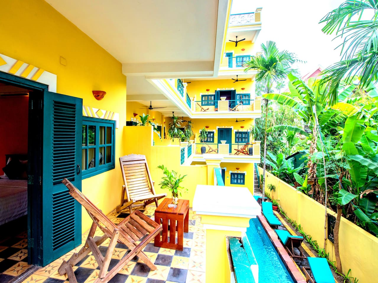 Balcony facing to the pool