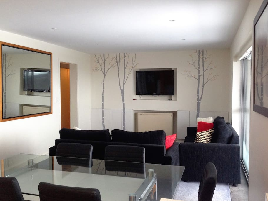 Comfortable, modern  loungeroom with two large sofas (sofa bed), coffee table and large LCD TV with Netflix