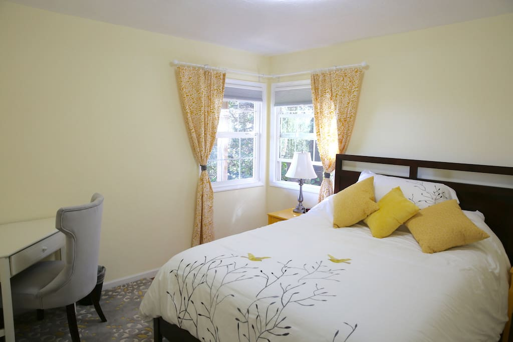 Yellow Room (a desk, queen bed, two end tables, closet that isn't in picture)