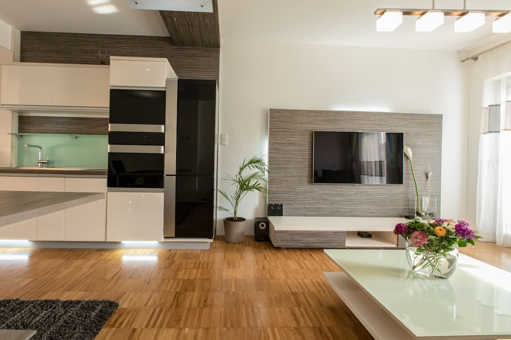 Kitchen and Living room area with flat screen, Apple TV, Wireless Speakers & International channel selection.
