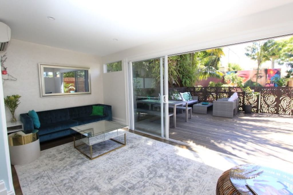 Lounge room leads on to huge deck area
