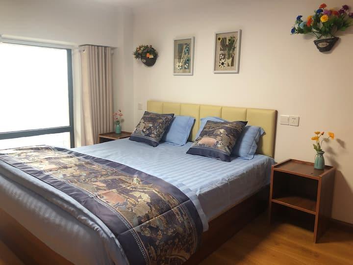 高新区临区委政府公寓,近地铁,双气,明亮温馨大床房503单间