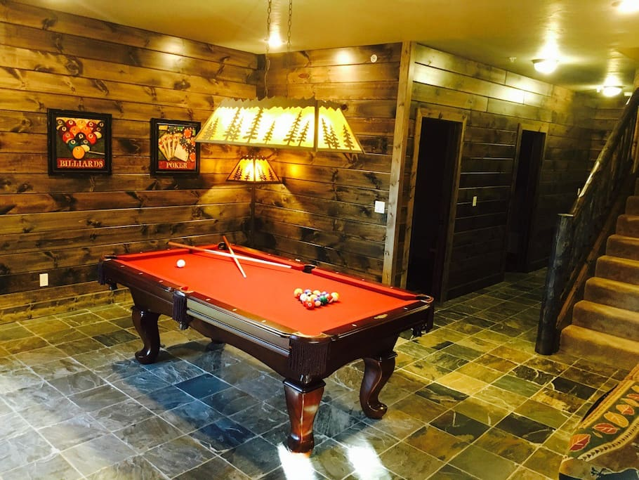 Full size pool table in lower level
