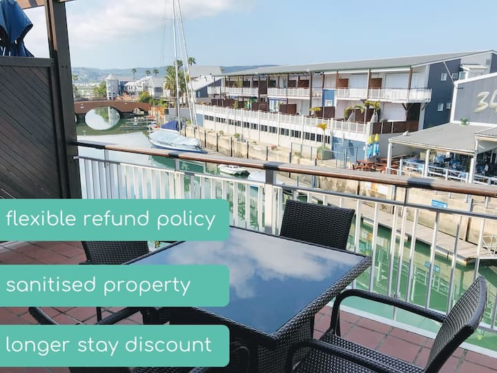 Shaun's Waterfront Apartment ♥ Patio with Marina Views | WIFI | Braai