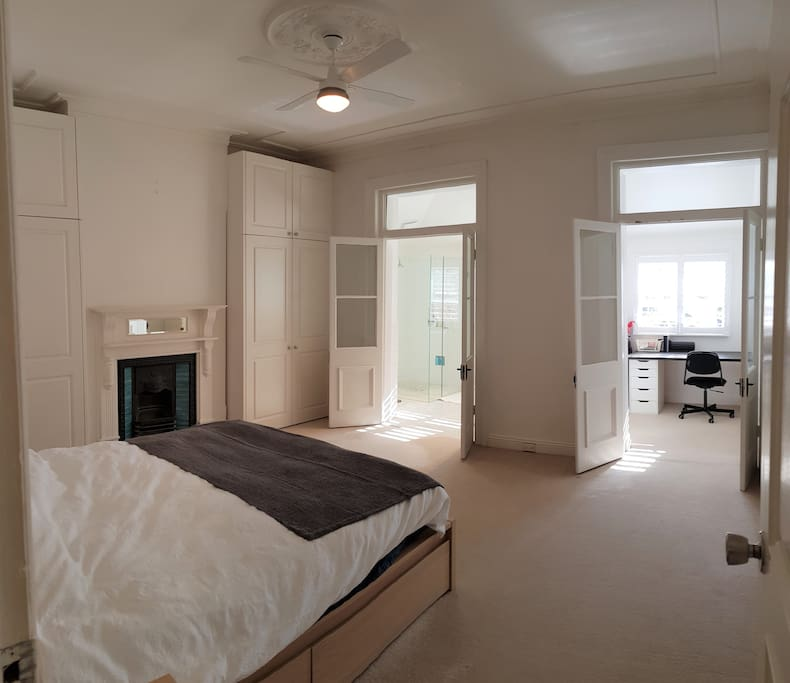 Relax in your large master bedroom after a day at the beach. Equipped with ensuite and study.