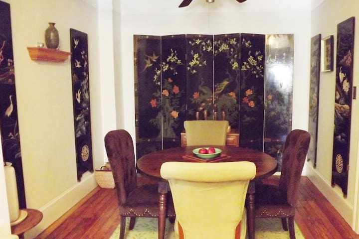 Enjoy a dinner at home in our Asian inspired formal dining room.
