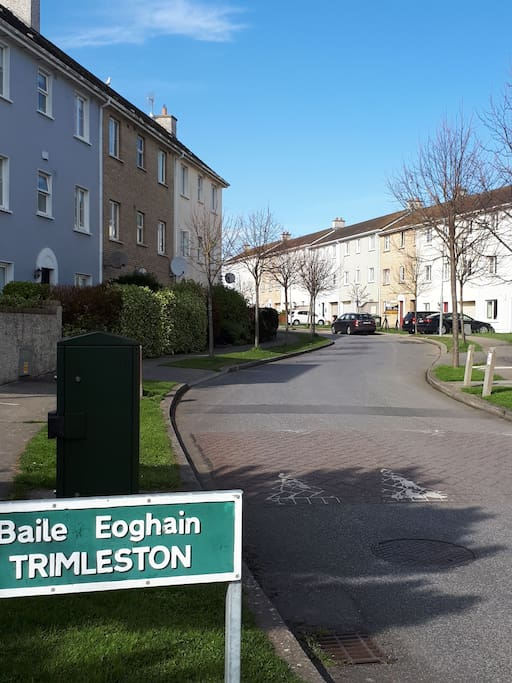 Trimleston Hamlet lane balbriggan. 77  is on the right hand side of the road. The one with black letterbox on fence.