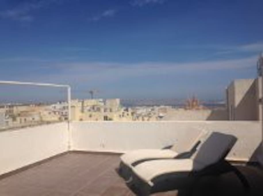 Roof Terrace with sea views and views of Gozo and Comino
