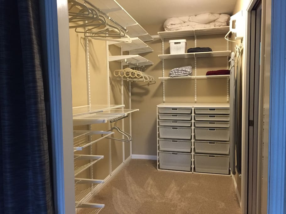 Closet organizer with tons of space.  Pants hanger holds 8 pairs of pants.  Shoe racks hold up to 16-20 pairs of shoes.