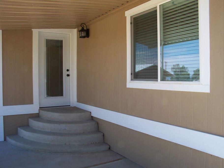 The front door entrance.