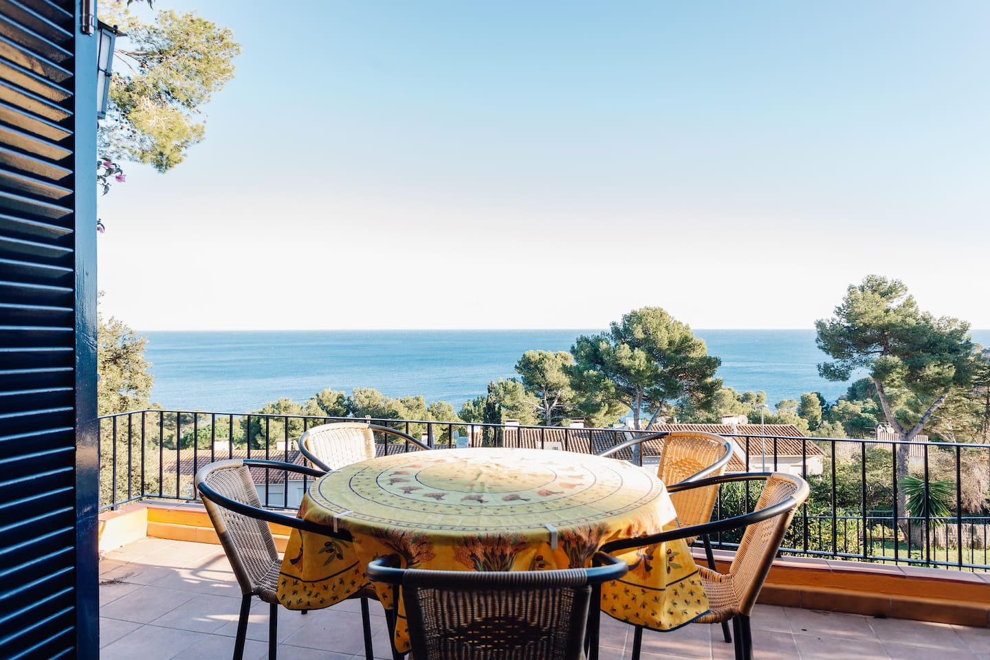 Downstairs terrace with views over the gardens and the sea.