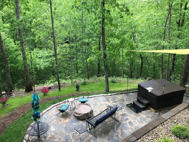 View of patio and hot tub.