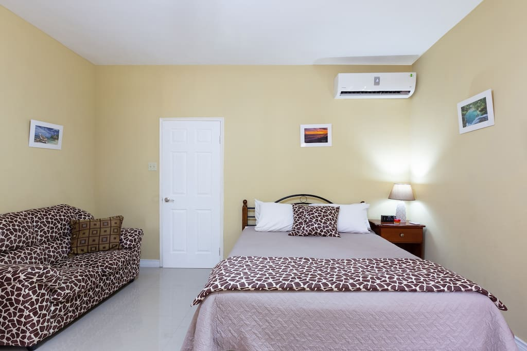 Air conditioned bed room with ceiling fan
