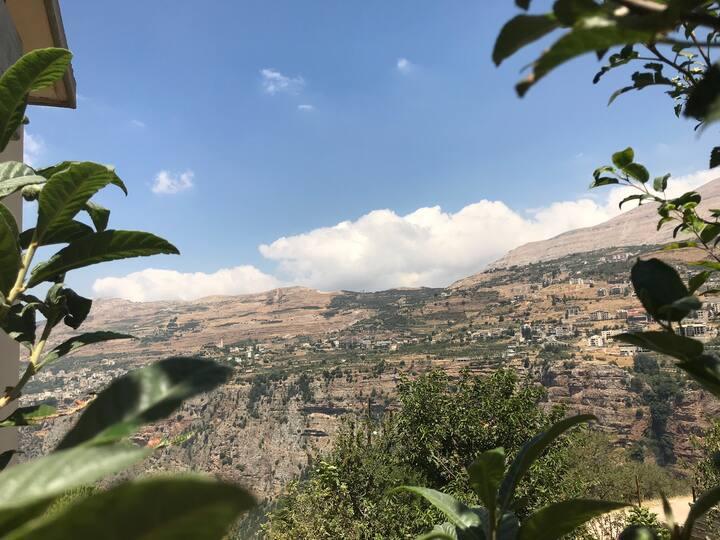 Nana's House, breathtaking view of Qanoubin valley