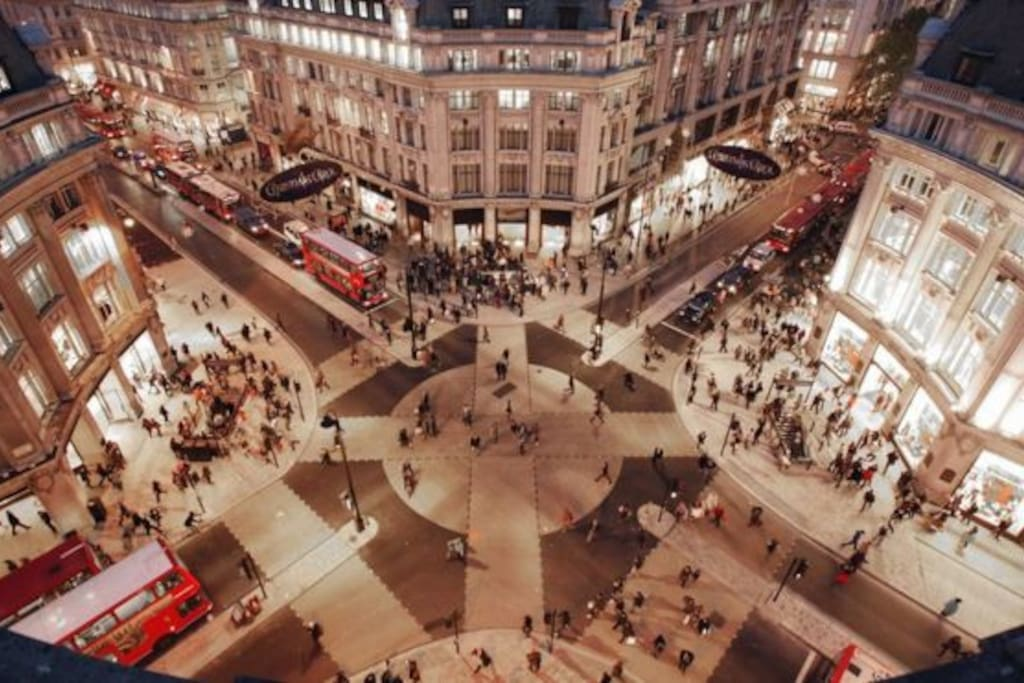 a birds eye view angle of the oxford circus and regent street which is very close  to the flat. lots of shops and restaurants.