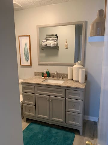 Like the guest bathroom the master bathroom provides more space but continues to be in sync with the the ambience of warmth by the accents of bright and cozy colors that are accented with fun textures throughout the bathroom.