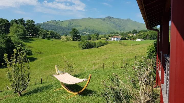 Maison vue panoramique sur les montagnes basques