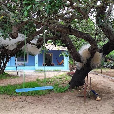 Casinha Azul  na Praia da Lagoinha