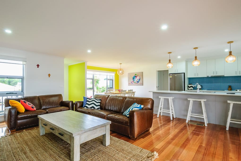 Open living, dining, kitchen area