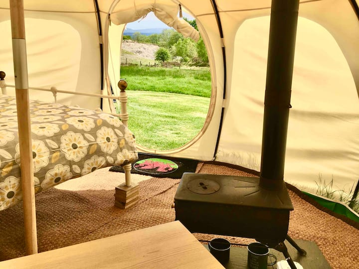 Solitary Off-Grid Tent amidst Welsh Pastures