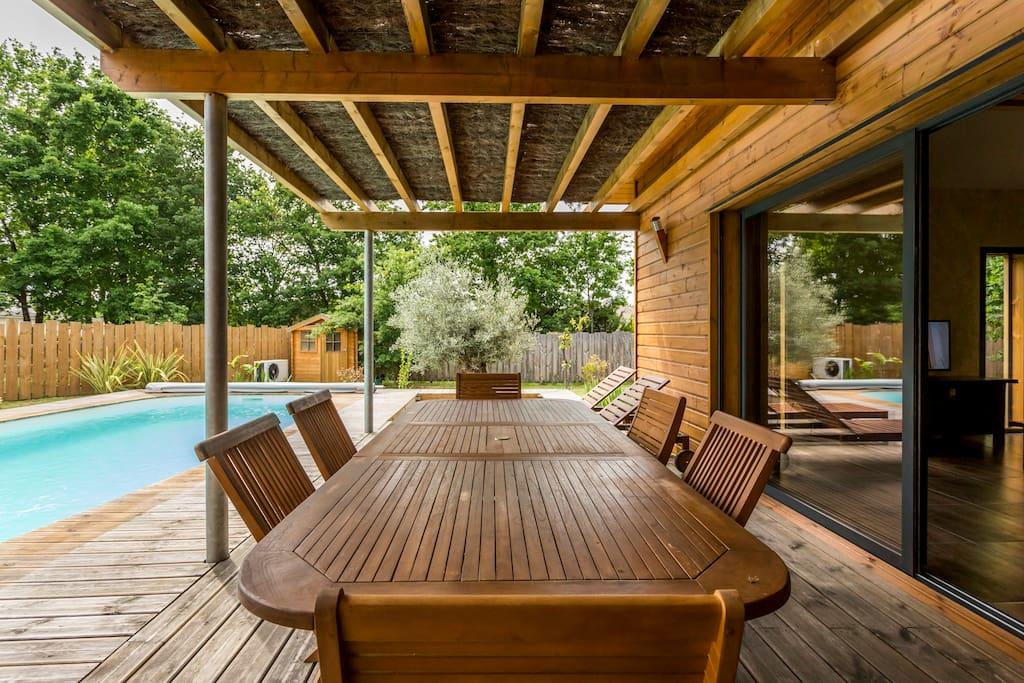 Villa bois piscine chauff e lege cap ferret ville in for Piscine bois 4x8