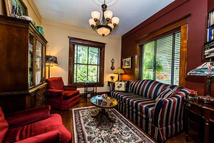 The Library is cozy space for you to relax, read or converse. Should the entire Inn be rented by a group, this room may become a private sleeping room for up to 2 adults with a super comfy queen sofa-bed.