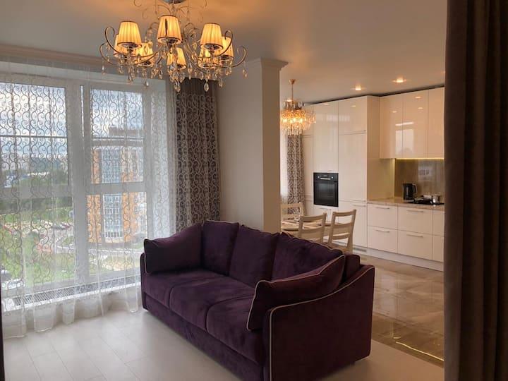 Светлые апартаменты Европейский стиль вид на Волгу