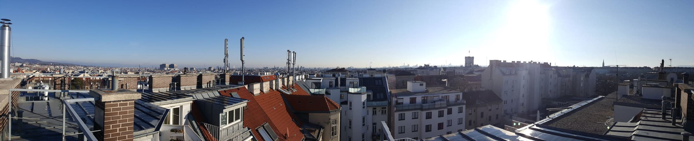 panorama view cityscape from roofterrace