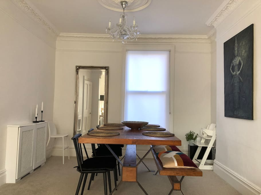 Dining room for 6 plus 2 child chairs.