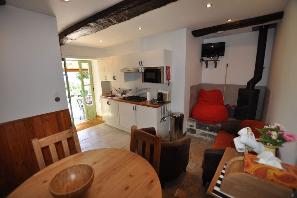 This gite has everything you need for your holiday.  For winter bookings there are heaters in all rooms and a  log burner in the living room.