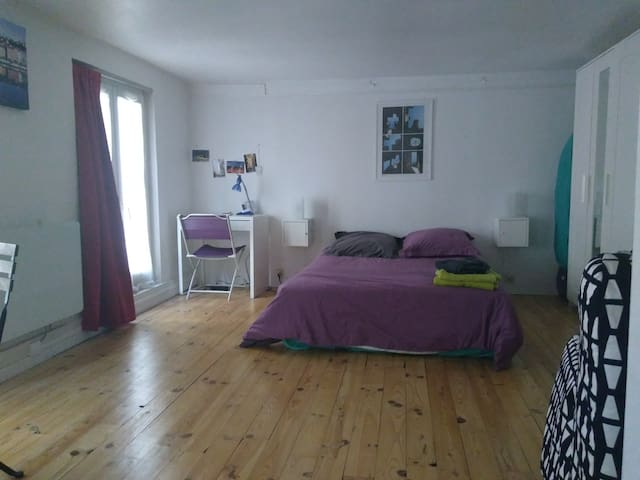 Large, quiet and very light studio flat, renovated