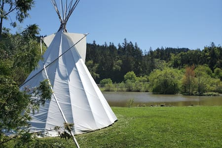 Teepee on beautiful pond