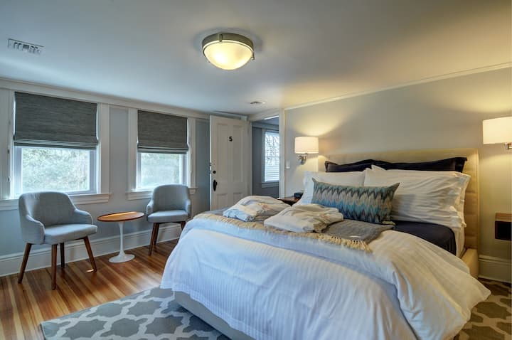 Luxury room at modern inn in the Hamptons