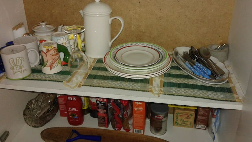 Some essential dishes, tea, coffee, etc...