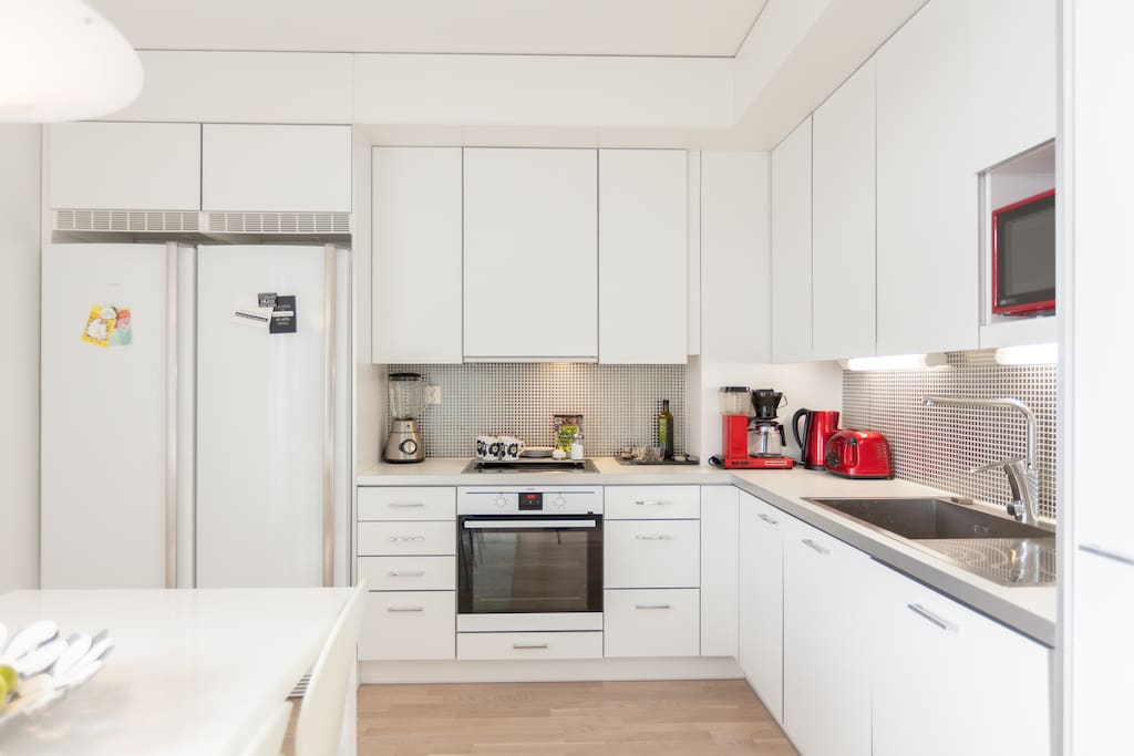 Kitchen includes everything you may need and even more: coffee machine, toaster, water boiler, microwave, stove/oven, pots, pans, big fridge, freezer, dish washer, blender, tableware, cutleries etc. We have everything ready for you!
