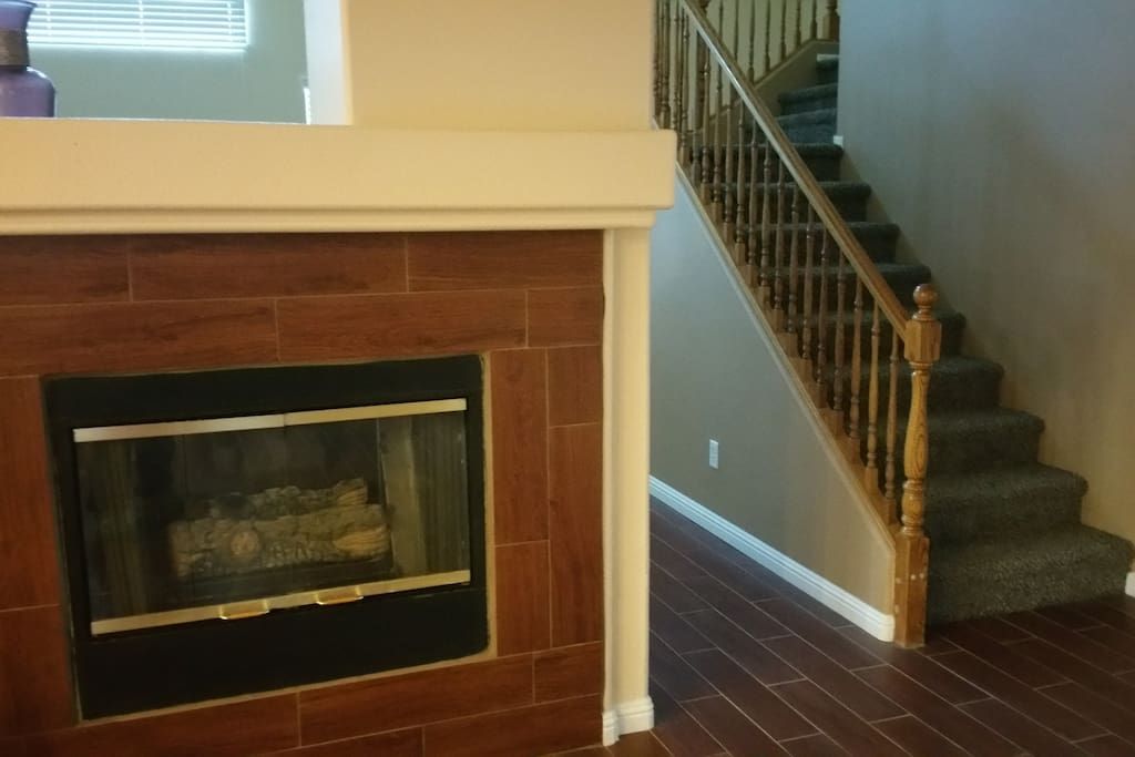 Fireplace on dining room