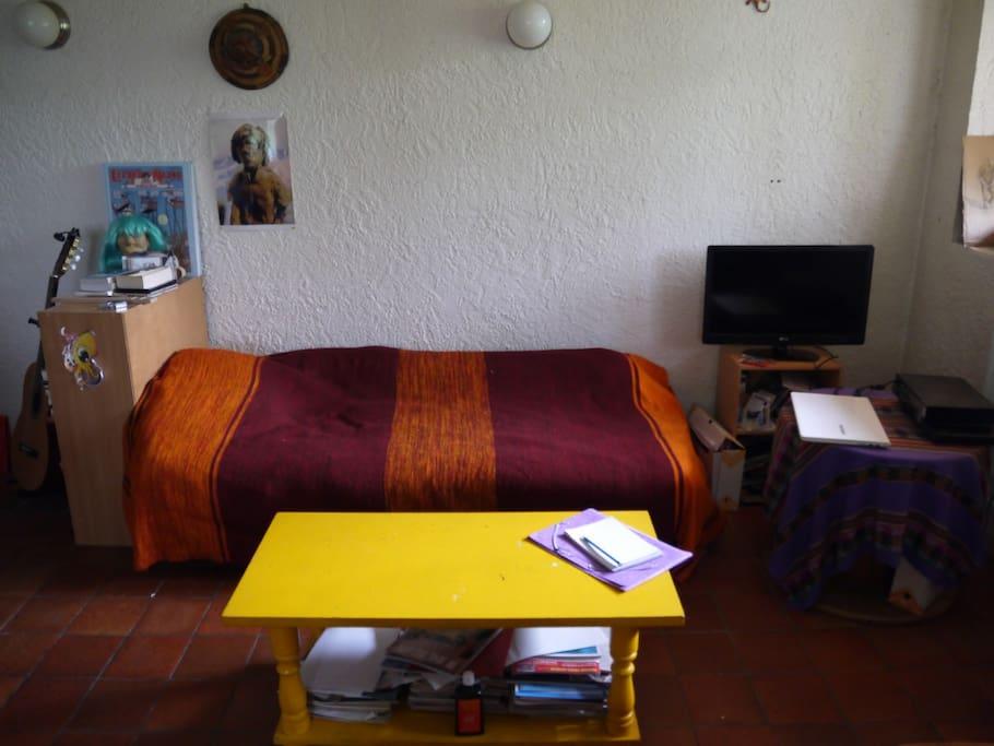 Lit simple dans le salon ( grande pièce à vivre avec cuisine ouverte de 25 m2)