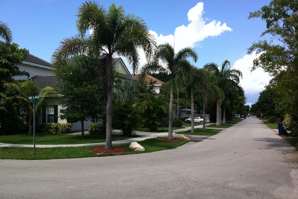 Walk the safe, quiet, upscale neighborhood