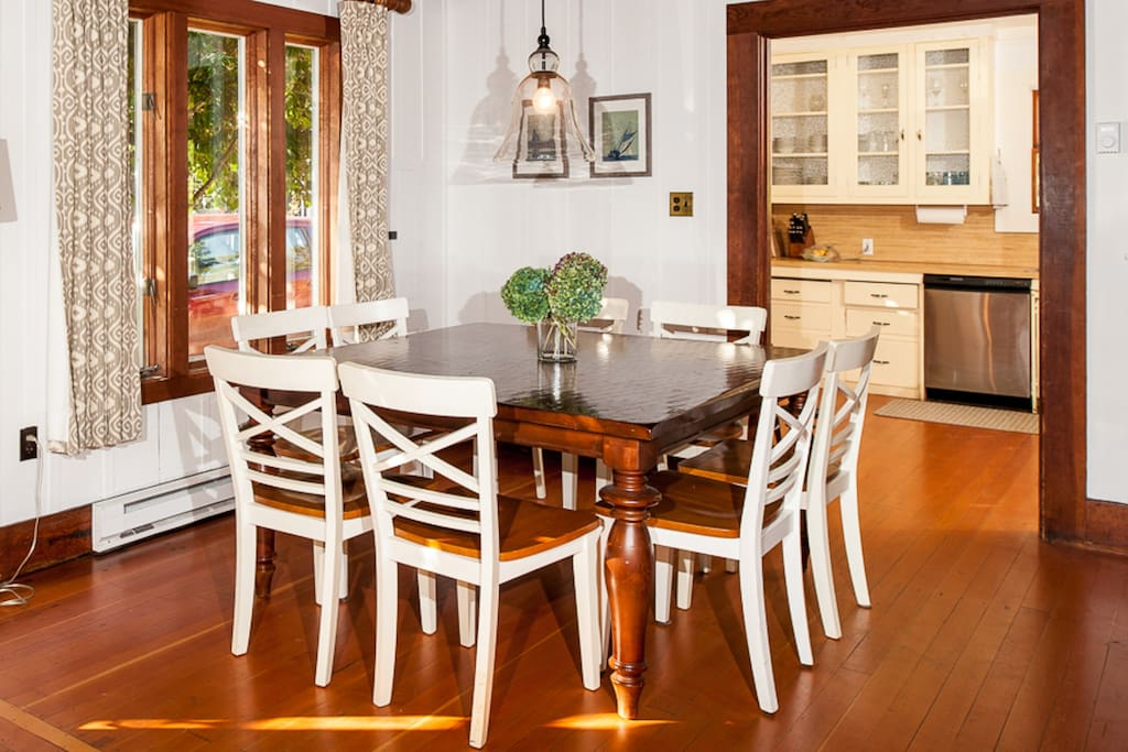 The 8-person dining table is just steps from the kitchen.