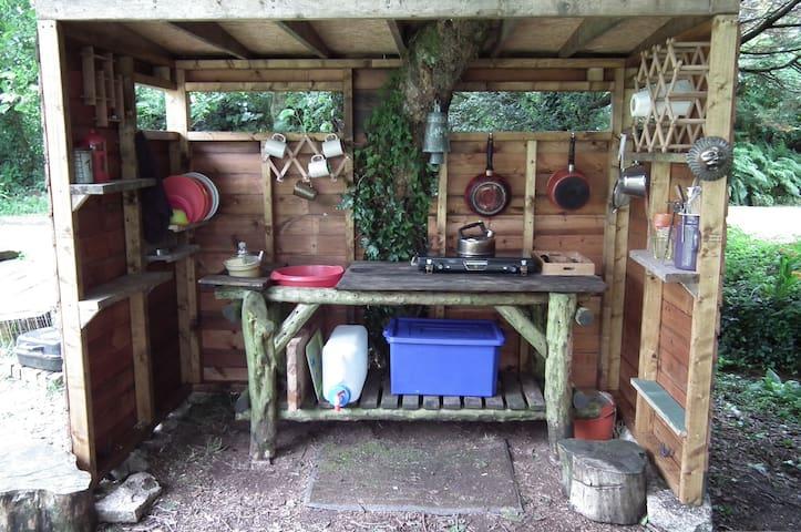 Yurt kitchen - the beautiful bare necessities!