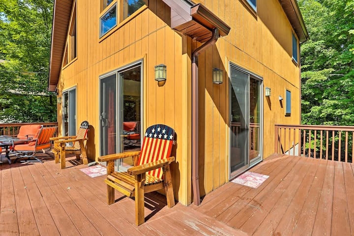 The spacious deck is perfect for enjoying Poconos weather!
