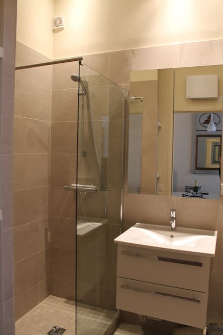 HUGE SHOWER  ! Modern bathroom with all the amenities you need: washer, hair dryer...