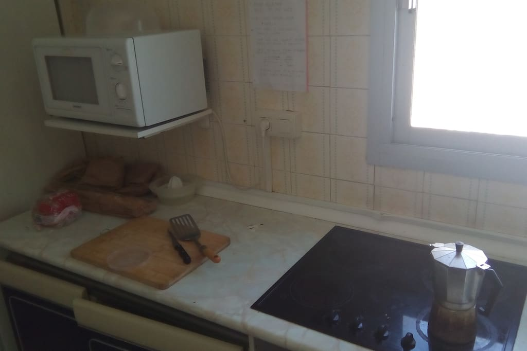Stove, Microwave and room for own food.