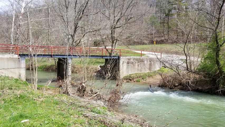 The bridge you will cross to get to Sugar Creek Farm and Little McKee Airbnb