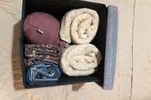 praying kit (sajadah, mukena, sarung) at 2nd floor . towels