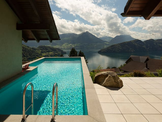 Villa at Lake of Lucerne-directly at mountain rail