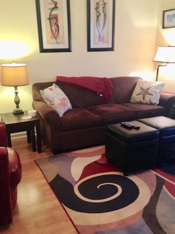 Living room pic 1:  Queen sofa sleeper
