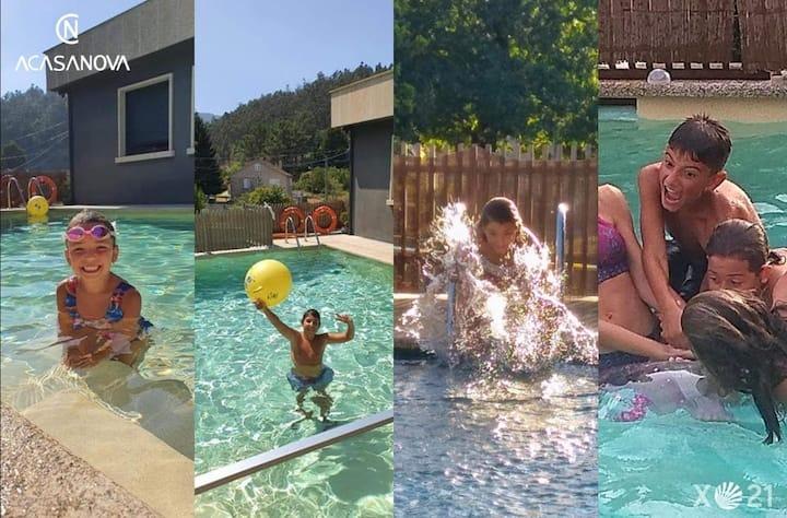 Chalet con piscina, jacuzzi, jardín y diversión