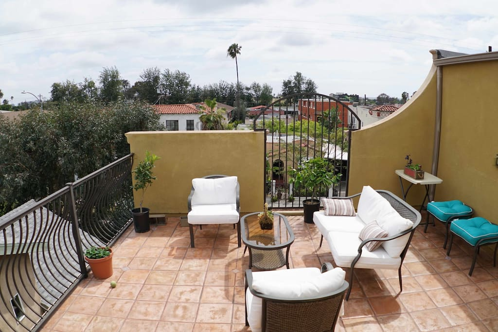 Patio/rooftop has a great view and comfy lounge zone plus BBQ on site that you can use