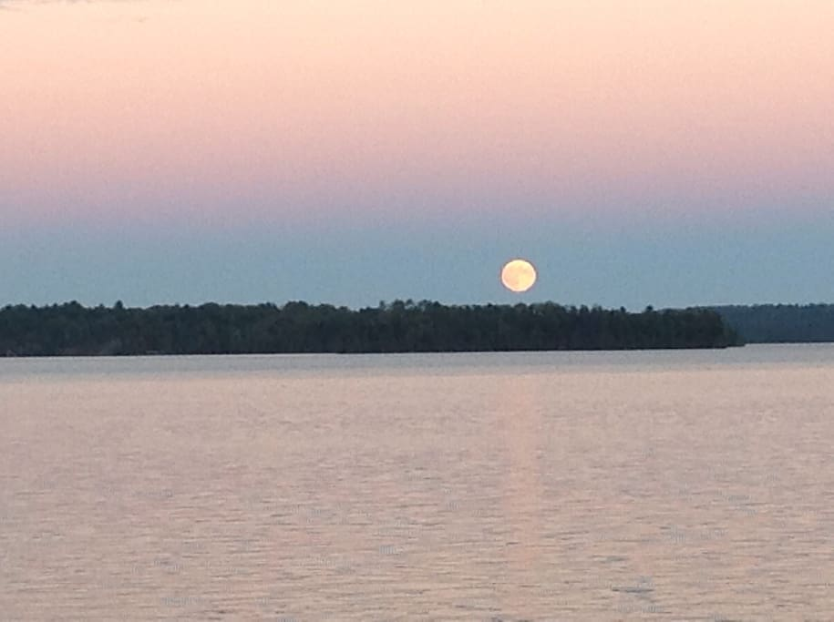 Moon rising over Lake Clear